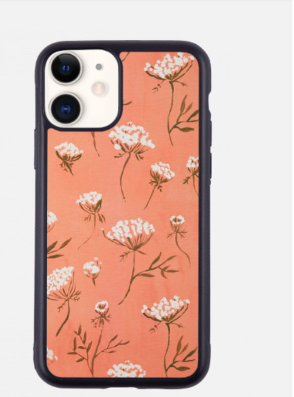 white flowers with peach background iphone case yuyu cases yuyu cases